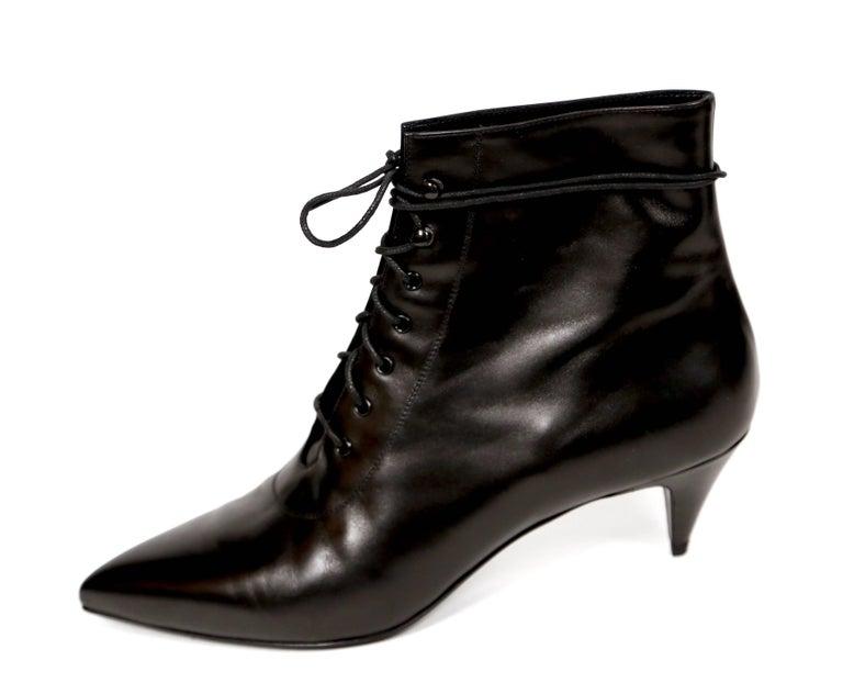 90f213bacc new SAINT LAURENT black leather 'Cat 50' lace up boots 41