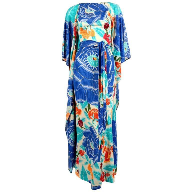 1970's MISSONI floral printed silk jersey caftan dress