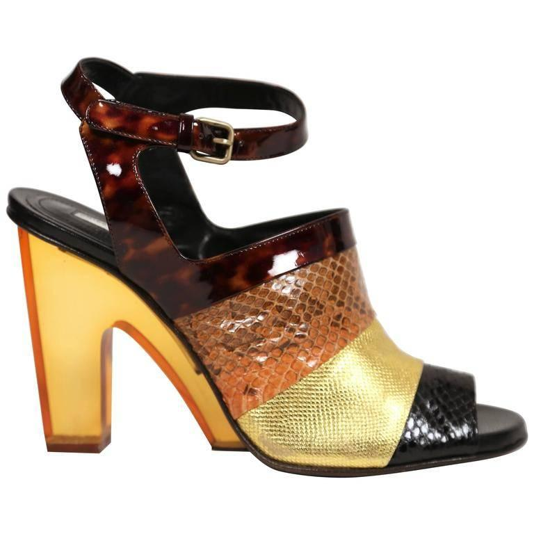 DRIES VAN NOTEN reptile leather shoes with lucite heels - 41 For Sale at  1stdibs 86026e837