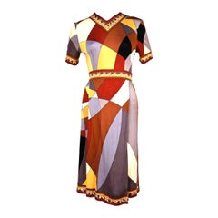 1960's EMILIO PUCCI geometric printed silk jersey dress