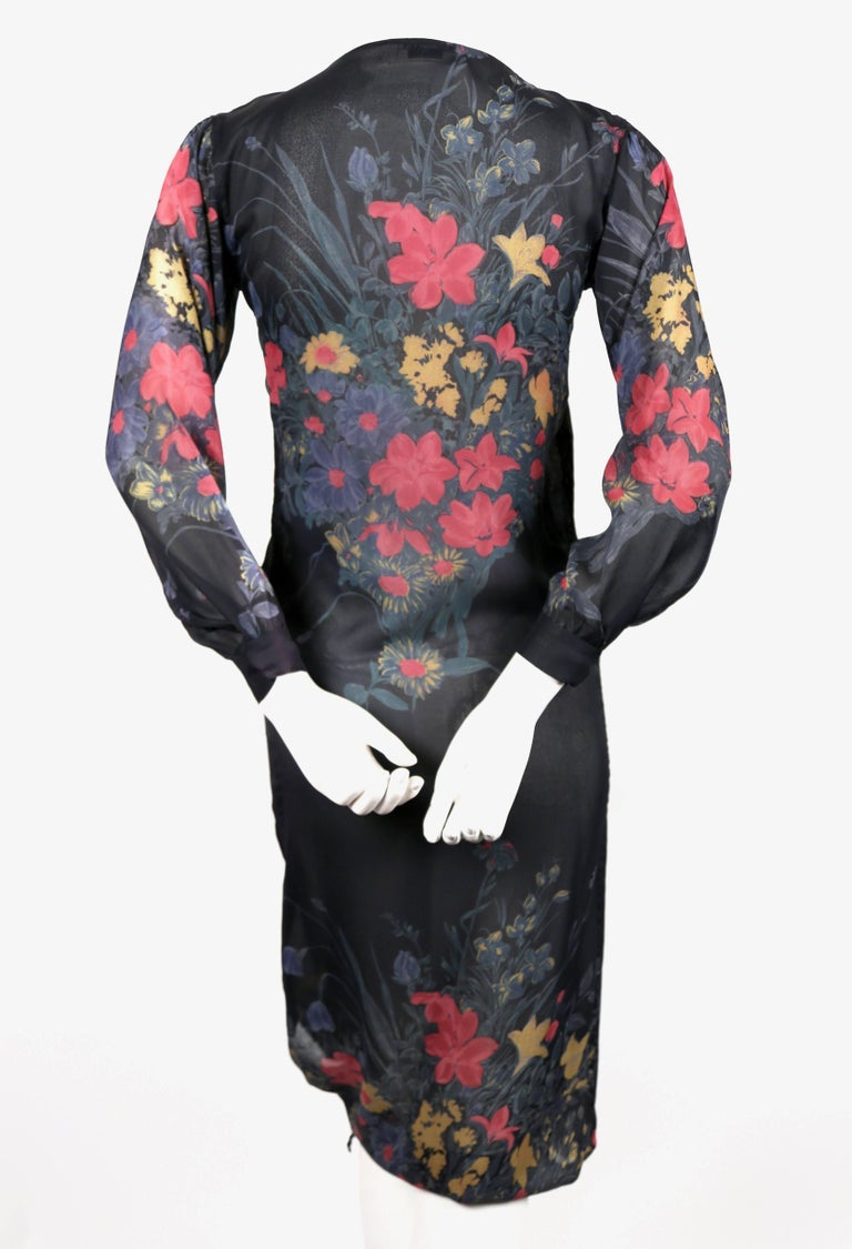 1970's SONIA RYKIEL sheer floral silk dress with drawstring hemline In Good Condition For Sale In San Fransisco, CA