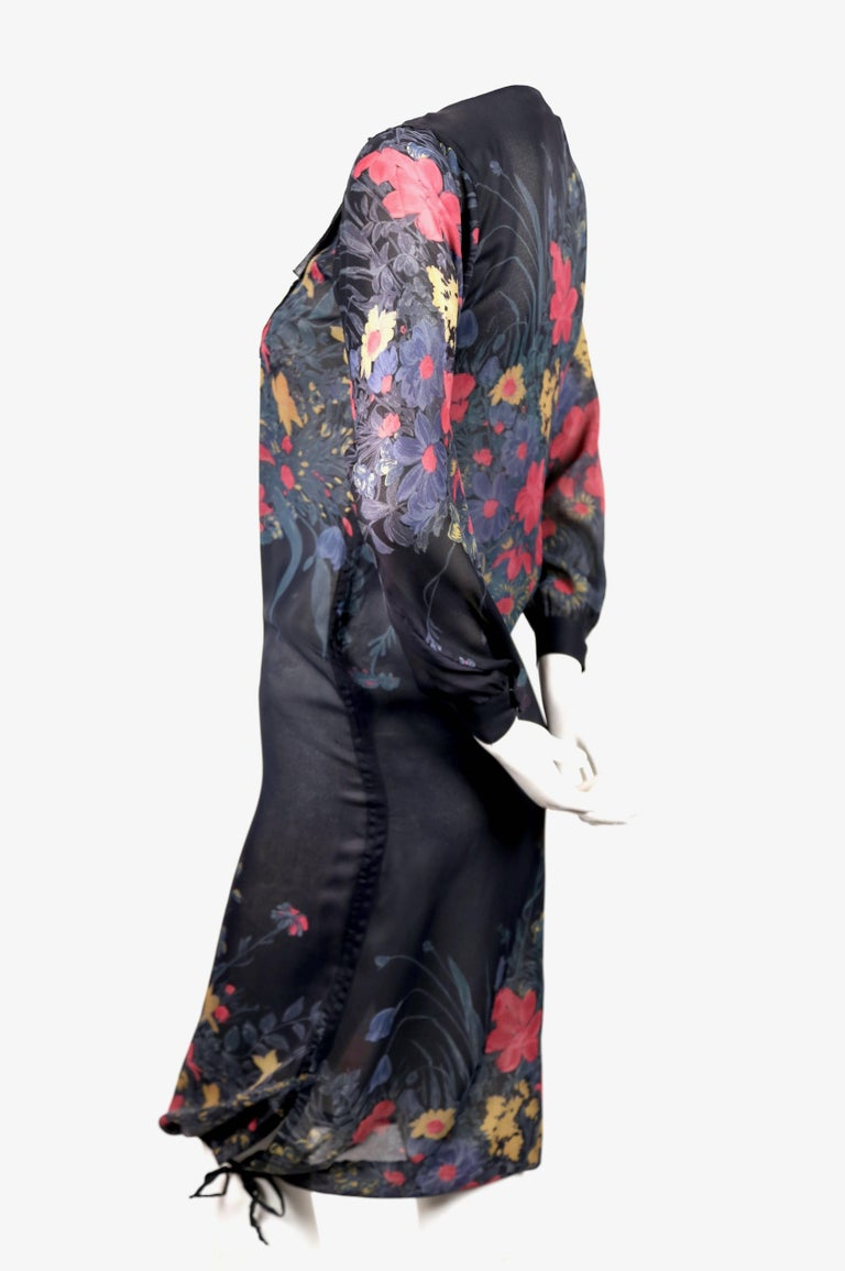 Black 1970's SONIA RYKIEL sheer floral silk dress with drawstring hemline For Sale