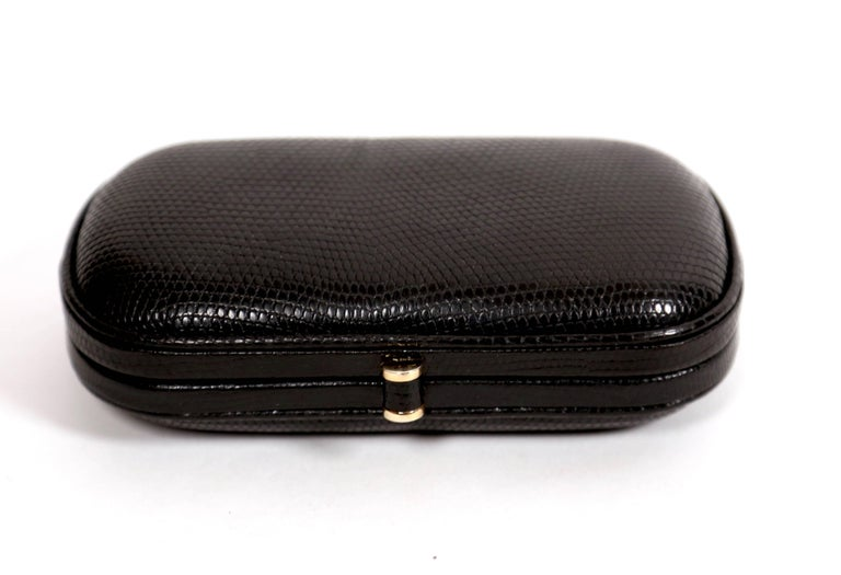 Black Bottega Veneta karung lizard clutch bag, 1980s  For Sale
