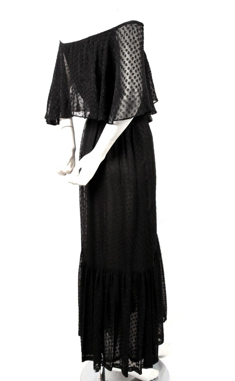 Black Yves Saint Laurent black off-the-shoulder peasant dress, 1970s For Sale