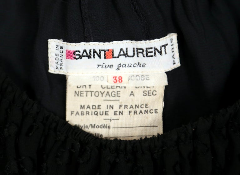 Yves Saint Laurent black off-the-shoulder peasant dress, 1970s For Sale 1