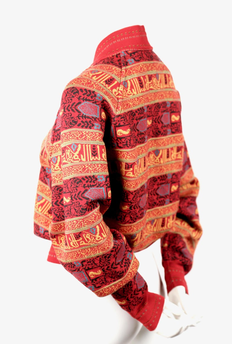 Red Azzedine Alaia sweater jacket with Arabic calligraphy in Kufic script, 1990  For Sale