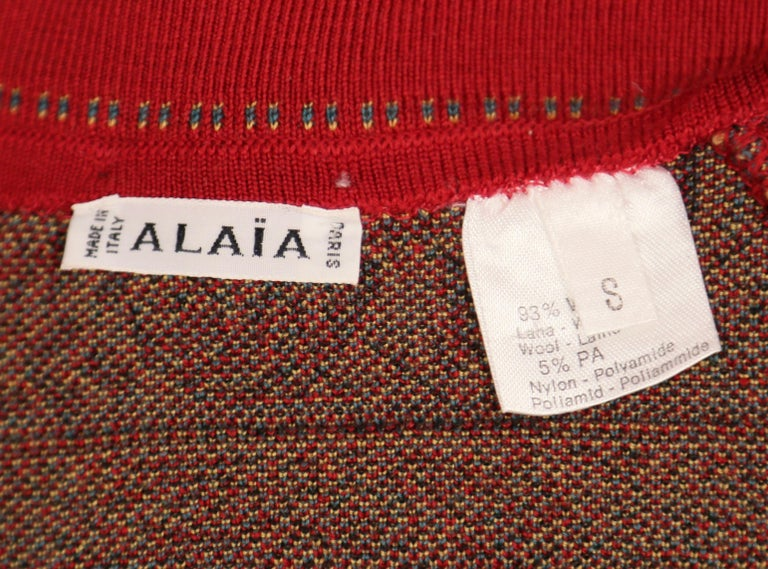 Women's or Men's Azzedine Alaia sweater jacket with Arabic calligraphy in Kufic script, 1990  For Sale