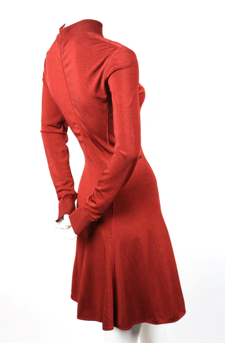 Red Azzedine Alaia dark red flared dress with long sleeves, 1990s For Sale