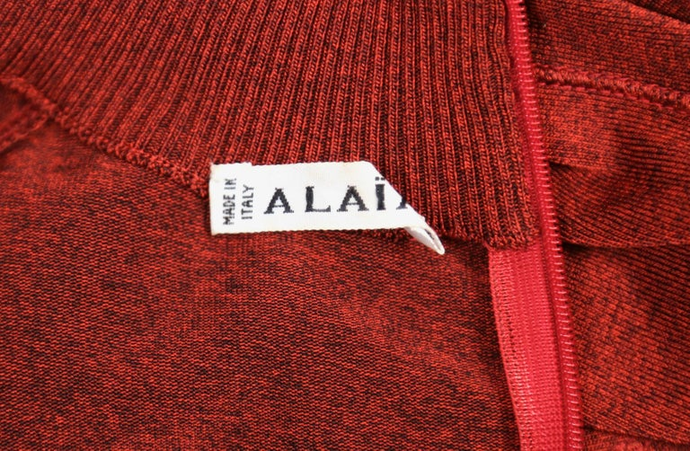Women's or Men's Azzedine Alaia dark red flared dress with long sleeves, 1990s For Sale