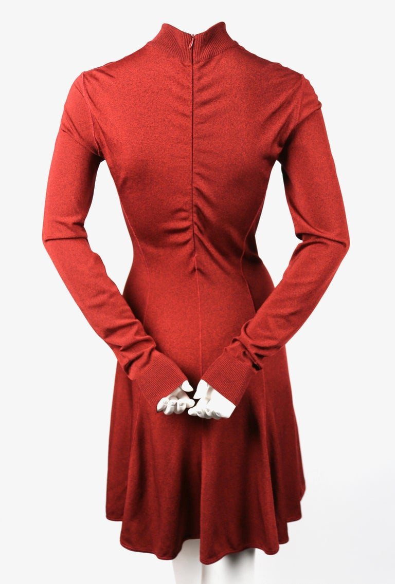 Azzedine Alaia dark red flared dress with long sleeves, 1990s In Good Condition For Sale In San Fransisco, CA