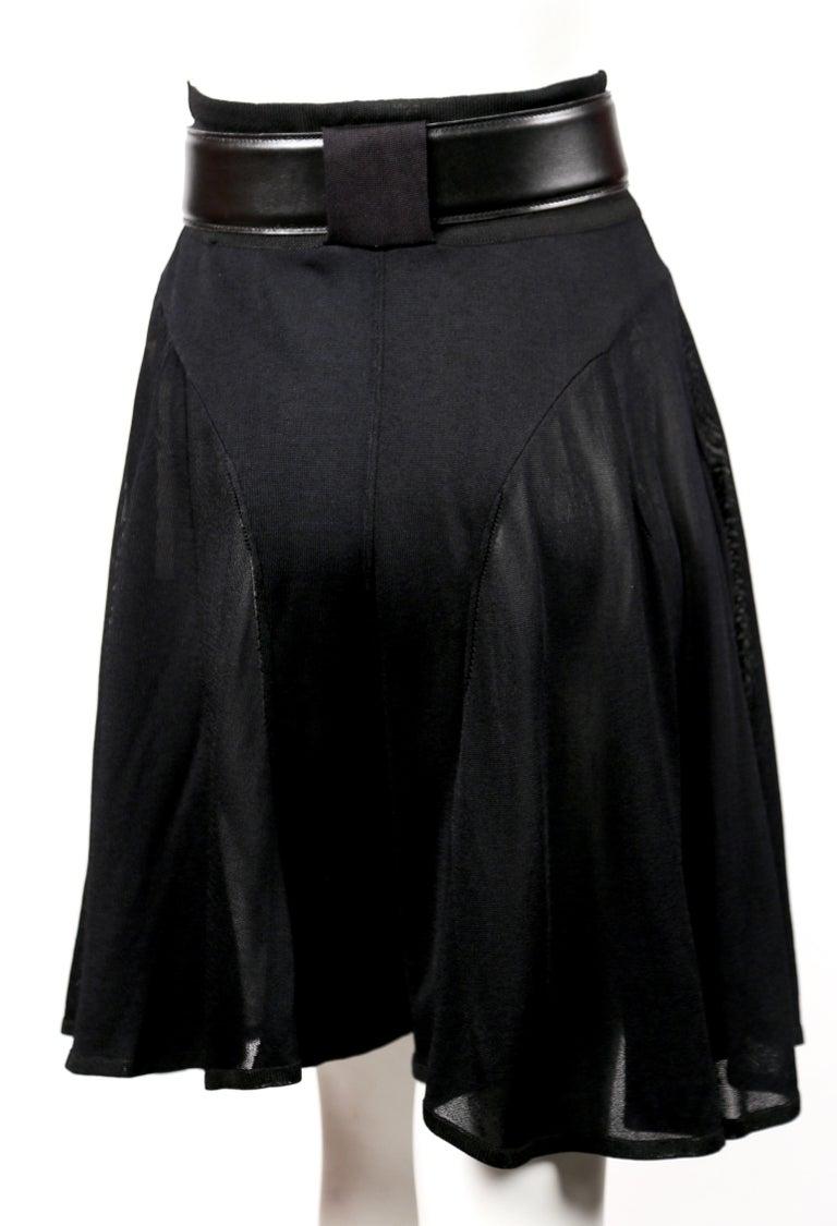 Women's or Men's Azzedine Alaia jet black pointelle knit skort with sheer panels, 1990s   For Sale