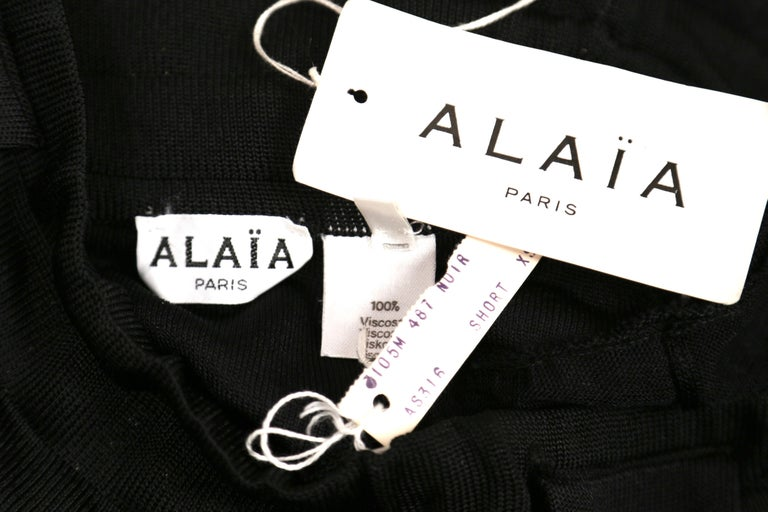 Azzedine Alaia jet black pointelle knit skort with sheer panels, 1990s   For Sale 1