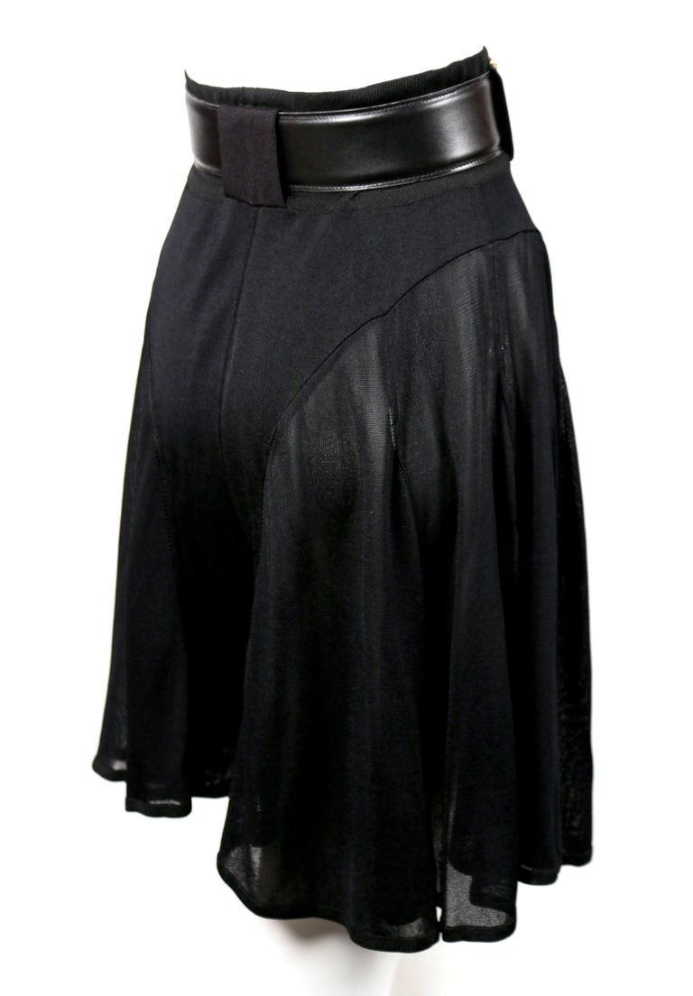 Azzedine Alaia jet black pointelle knit skort with sheer panels, 1990s   In New Condition For Sale In San Fransisco, CA