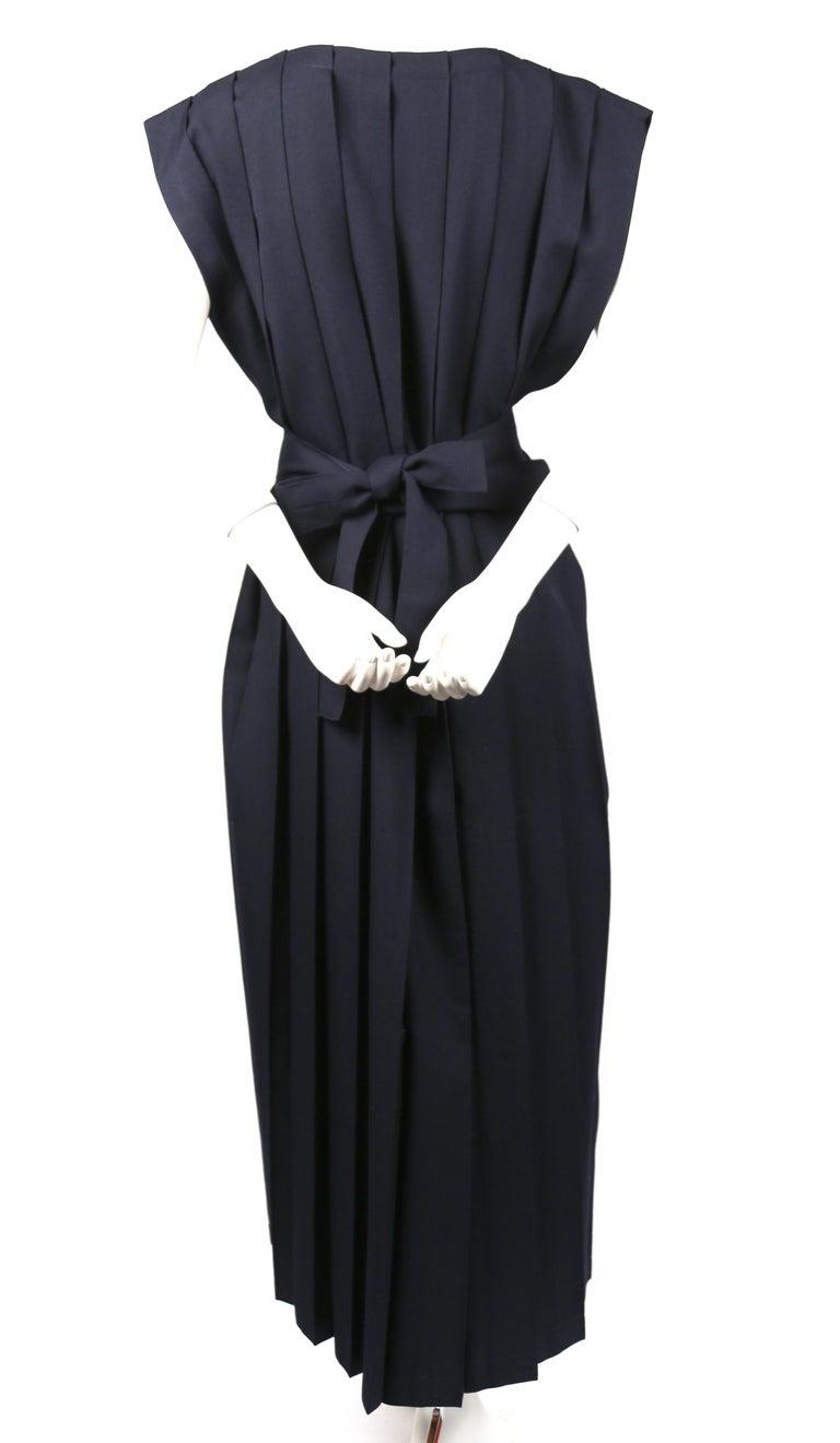 Women's or Men's REI KAWAKUBO navy blue wool dress with box pleats, 1986  For Sale