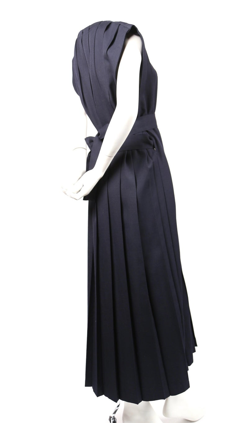REI KAWAKUBO navy blue wool dress with box pleats, 1986  In Excellent Condition For Sale In San Fransisco, CA