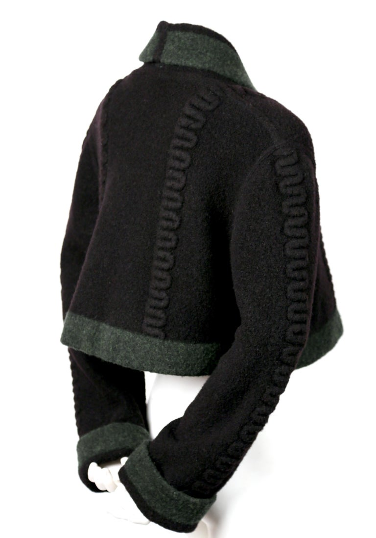 Azzedine Alaia Navy Blue And Green Wool Cropped Cardigan Sweater