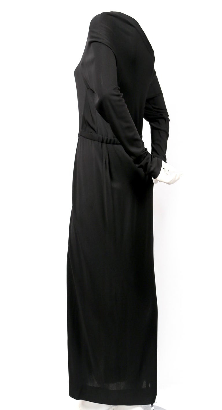 Black 1970's HALSTON silk jersey gown with asymmetrical cut For Sale