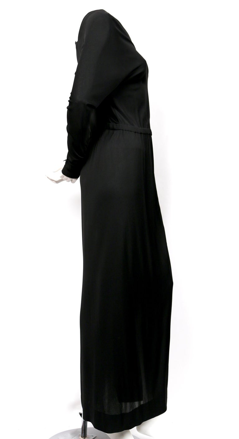 Women's 1970's HALSTON silk jersey gown with asymmetrical cut For Sale