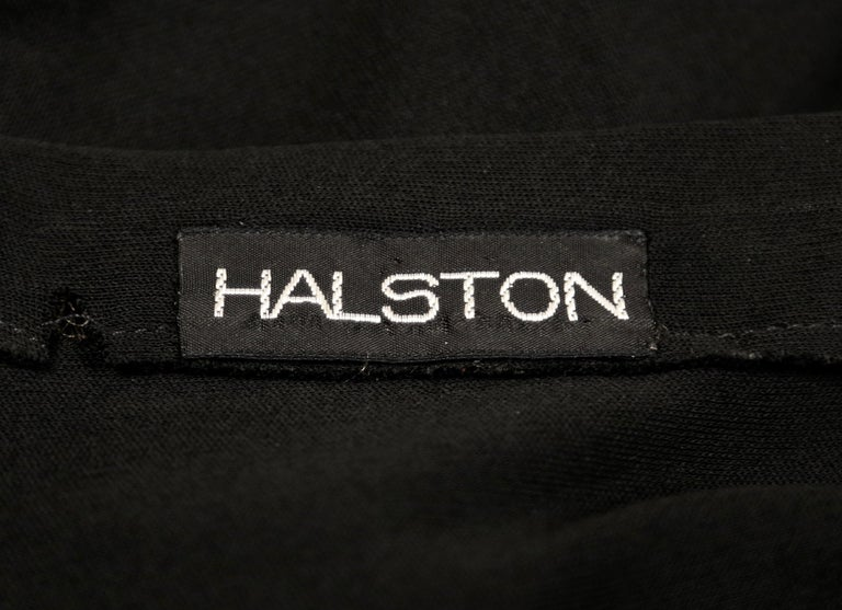 1970's HALSTON silk jersey gown with asymmetrical cut For Sale 2