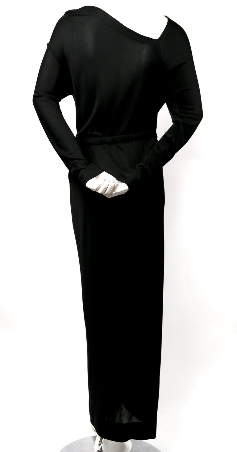 1970's HALSTON silk jersey gown with asymmetrical cut For Sale 1