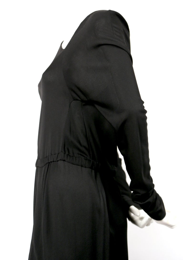 1970's HALSTON silk jersey gown with asymmetrical cut In Good Condition For Sale In San Fransisco, CA