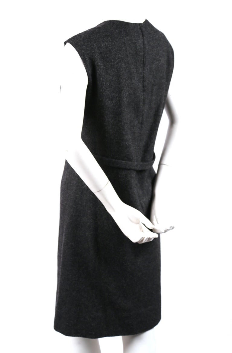 Black Sorelle Fontana charcoal grey wool dress with gold brocade detail, 1960s  For Sale