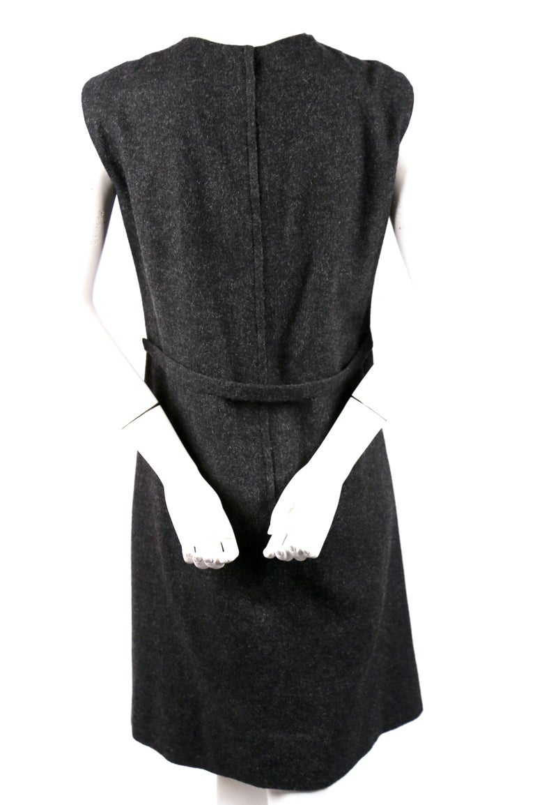 Sorelle Fontana charcoal grey wool dress with gold brocade detail, 1960s  In Good Condition For Sale In San Fransisco, CA