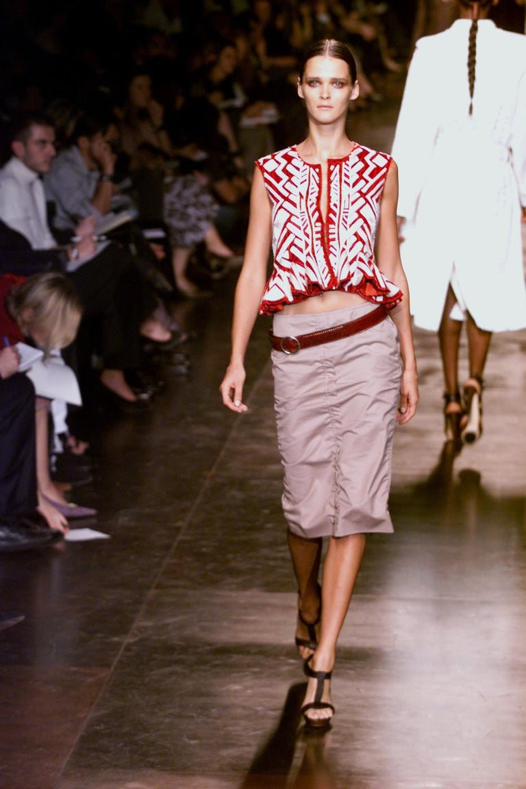 Tom Ford For Yves Saint Laurent claret embroidered runway jacket and skirt, 2002 For Sale 7