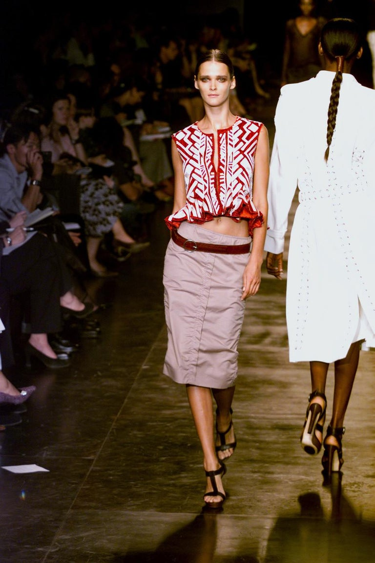 Tom Ford For Yves Saint Laurent claret embroidered runway jacket and skirt, 2002 For Sale 6