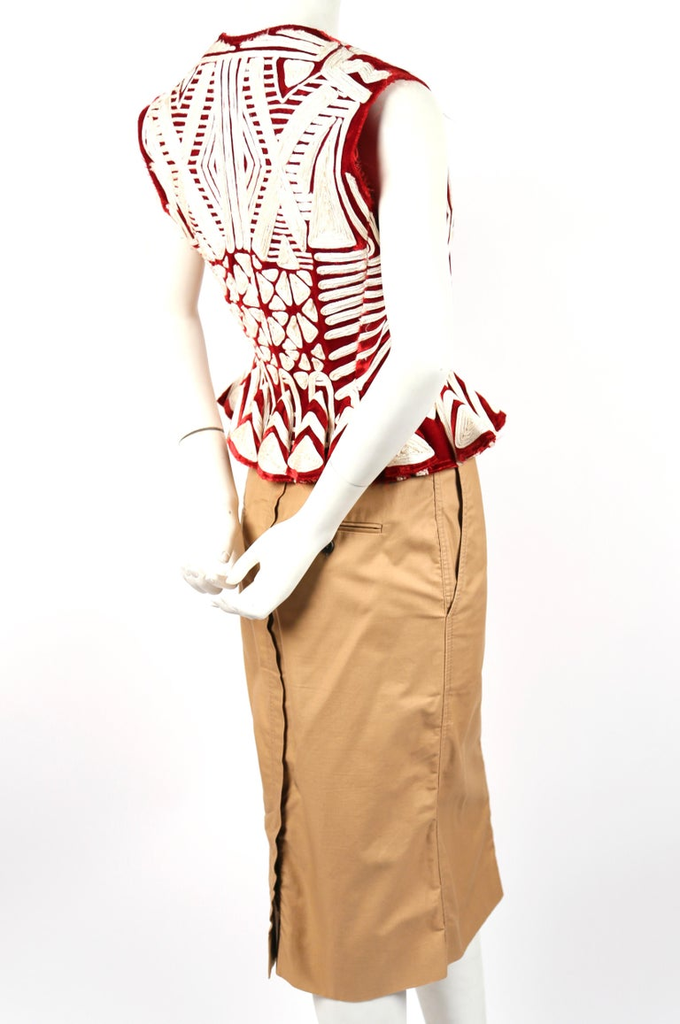 Beige Tom Ford For Yves Saint Laurent claret embroidered runway jacket and skirt, 2002 For Sale
