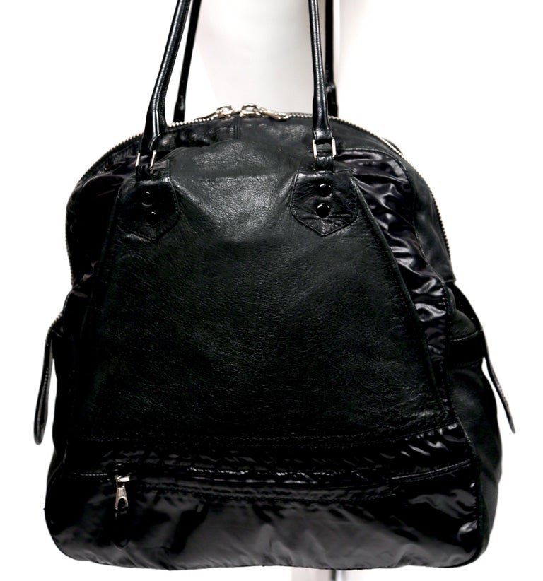 Women's or Men's Nicolas Ghesquiere For Balenciaga Black Leather And Nylon Parachute Bag, 2003  For Sale