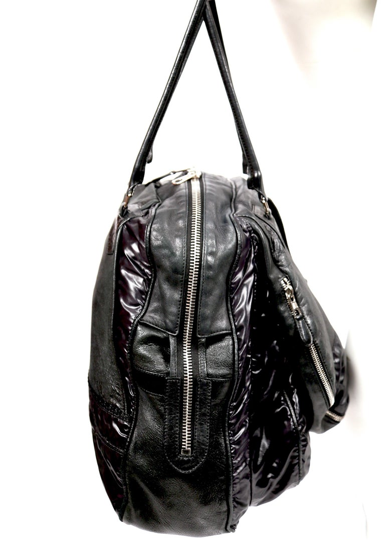 Nicolas Ghesquiere For Balenciaga Black Leather And Nylon Parachute Bag, 2003  In Good Condition For Sale In San Fransisco, CA