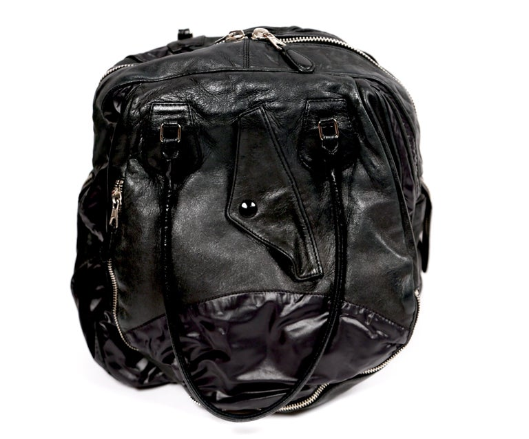 Nicolas Ghesquiere For Balenciaga Black Leather And Nylon Parachute Bag, 2003  For Sale 1