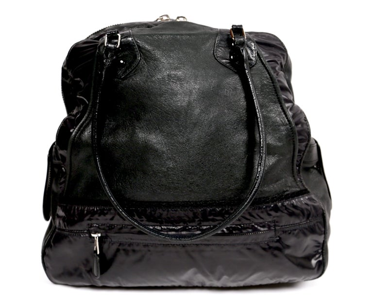 Nicolas Ghesquiere For Balenciaga Black Leather And Nylon Parachute Bag, 2003  For Sale 2