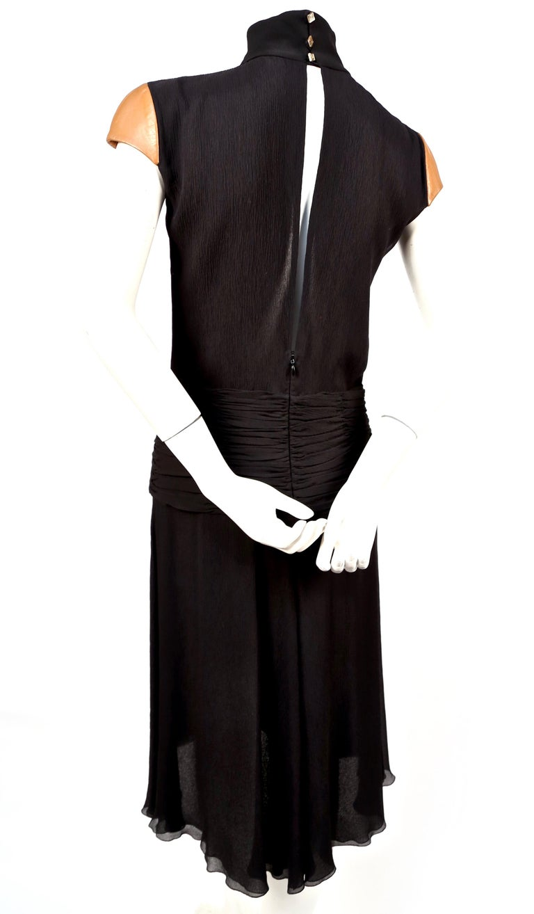 Black 2001 GIANNI VERSACE COUTURE black crepe runway dress with leather cap sleeves For Sale