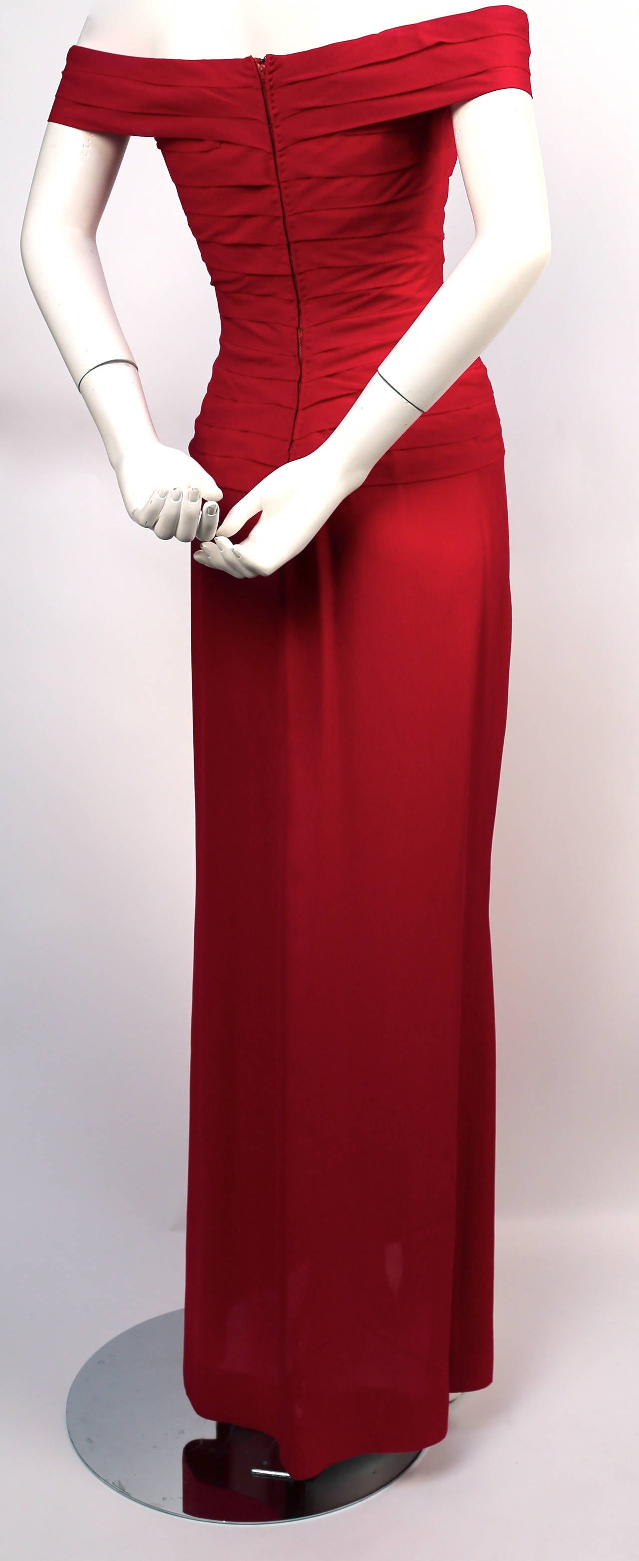 1970's LORIS AZZARO haute couture fuchsia silk gown with horizontal pleating 4