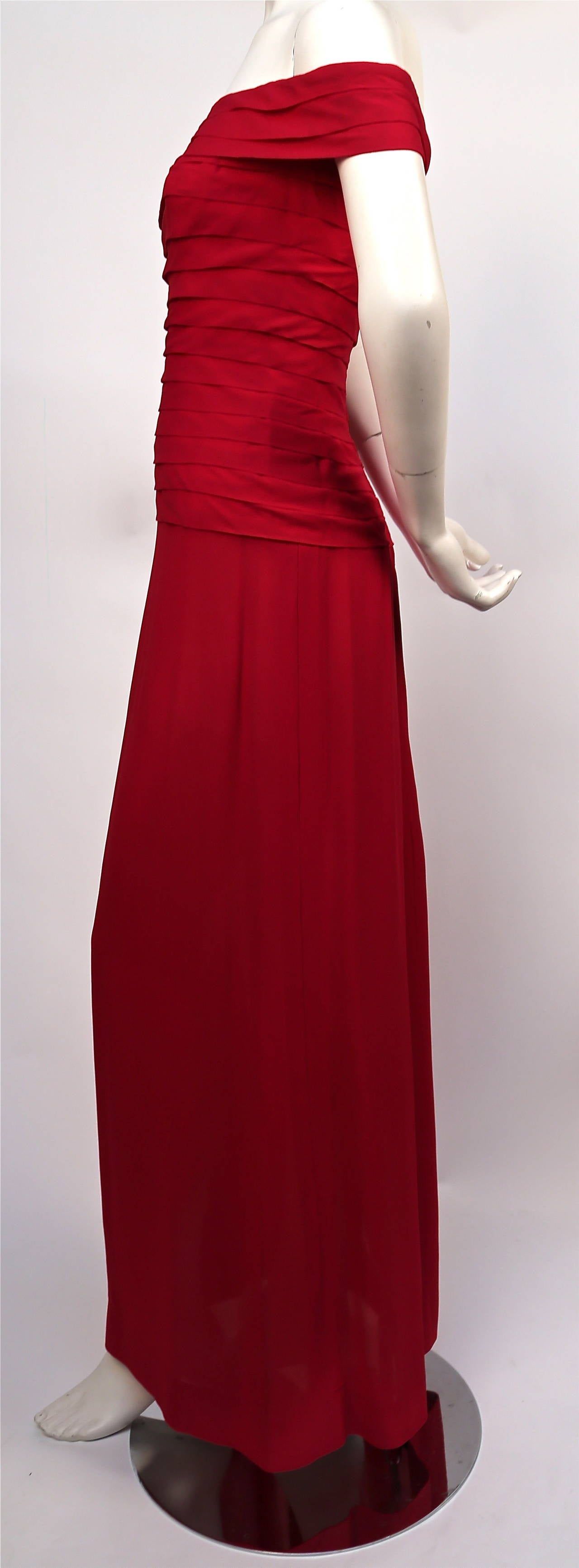 1970's LORIS AZZARO haute couture fuchsia silk gown with horizontal pleating 3