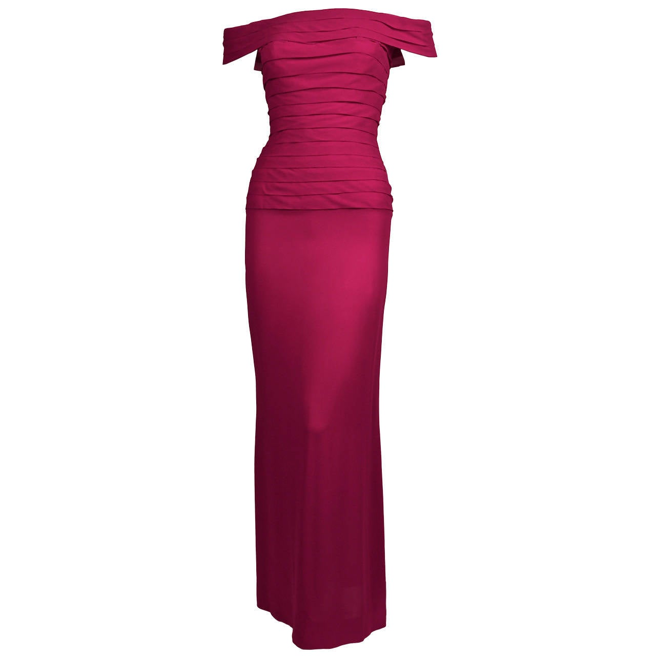 1970's LORIS AZZARO haute couture fuchsia silk gown with horizontal pleating 1