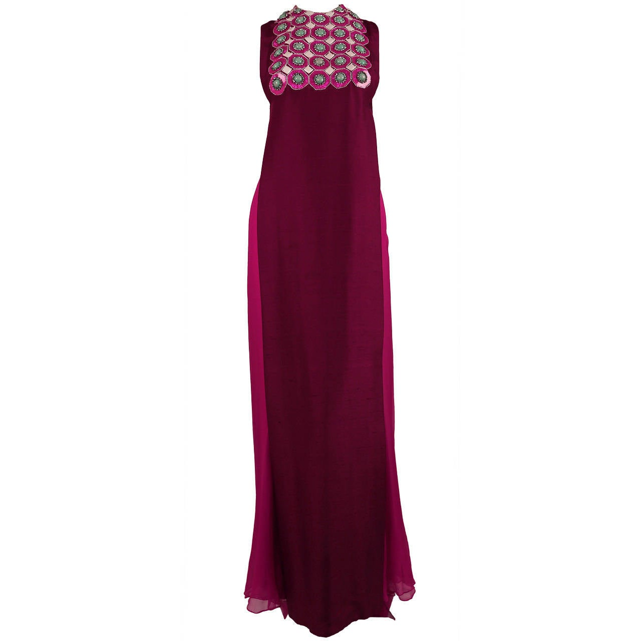 1960's MADAME GRES fuchsia beaded slub silk tabard & silk chiffon skirt ensemble 1