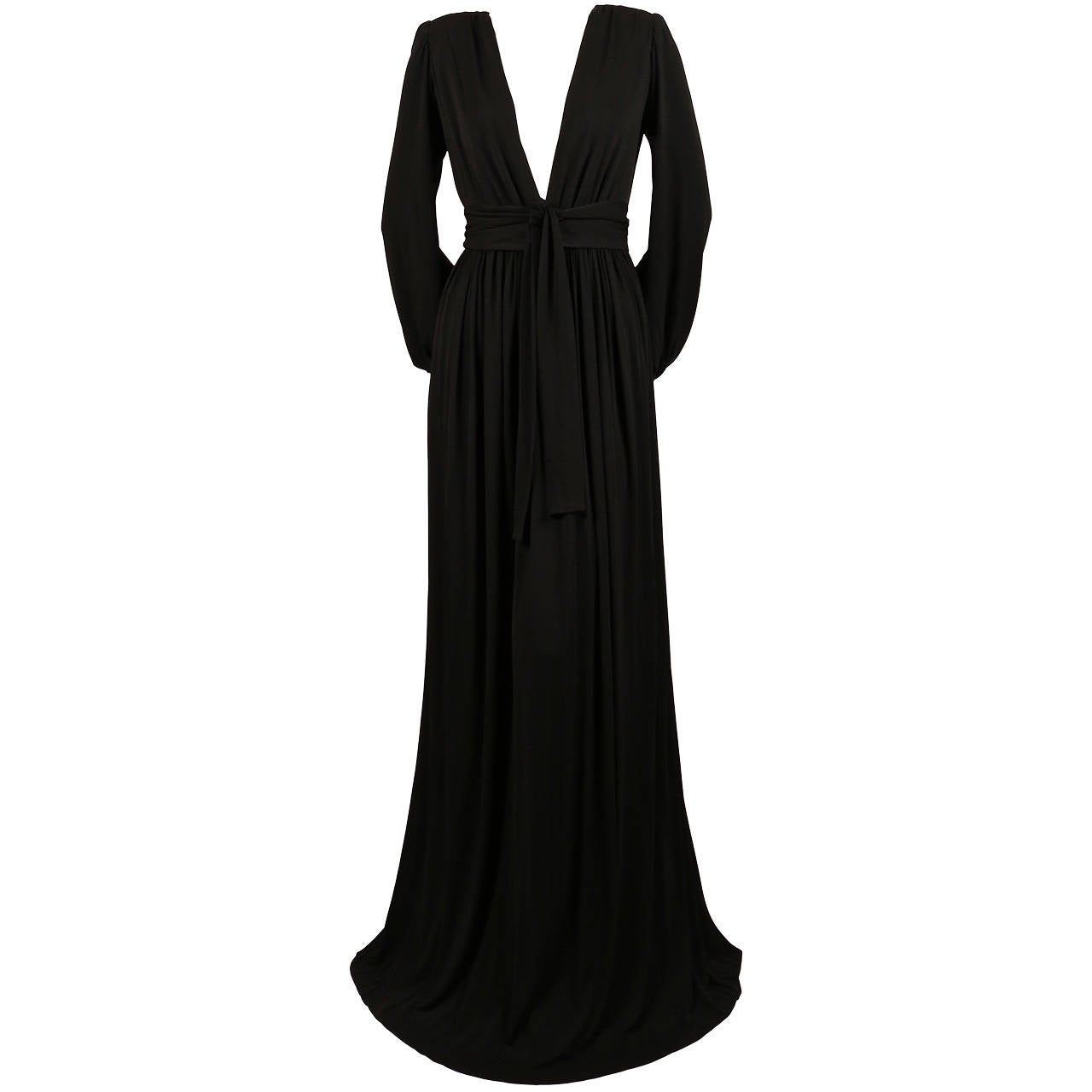 1970's YVES SAINT LAURENT long black jersey gown with matching sash For Sale