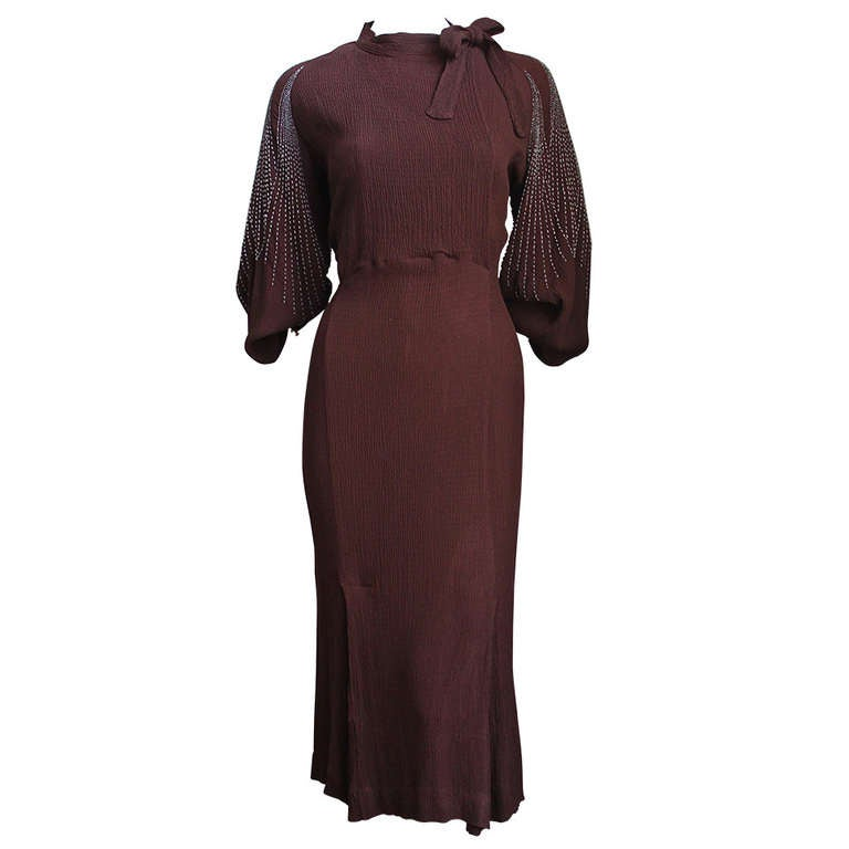 1930's MAINBOCHER oxblood crepe dress with beaded sleeves For Sale