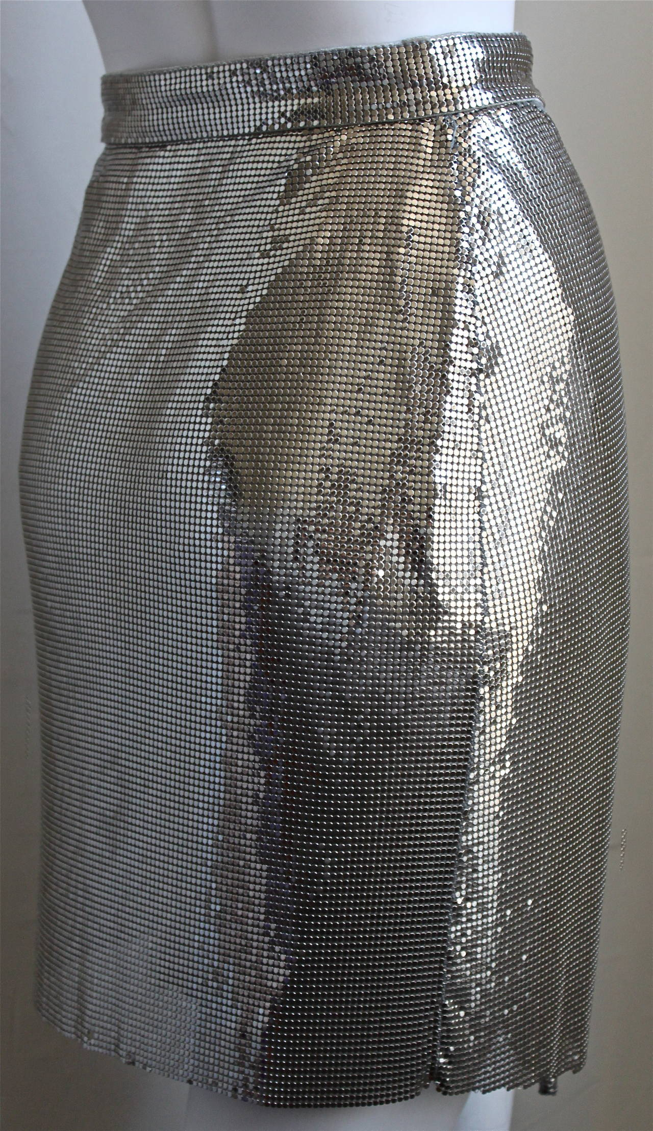 1994 Gianni Versace Couture Silver Oroton Chainmail Top