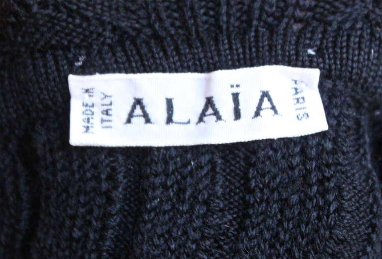 Women's 1990's AZZEDINE ALAIA black crocheted dress For Sale