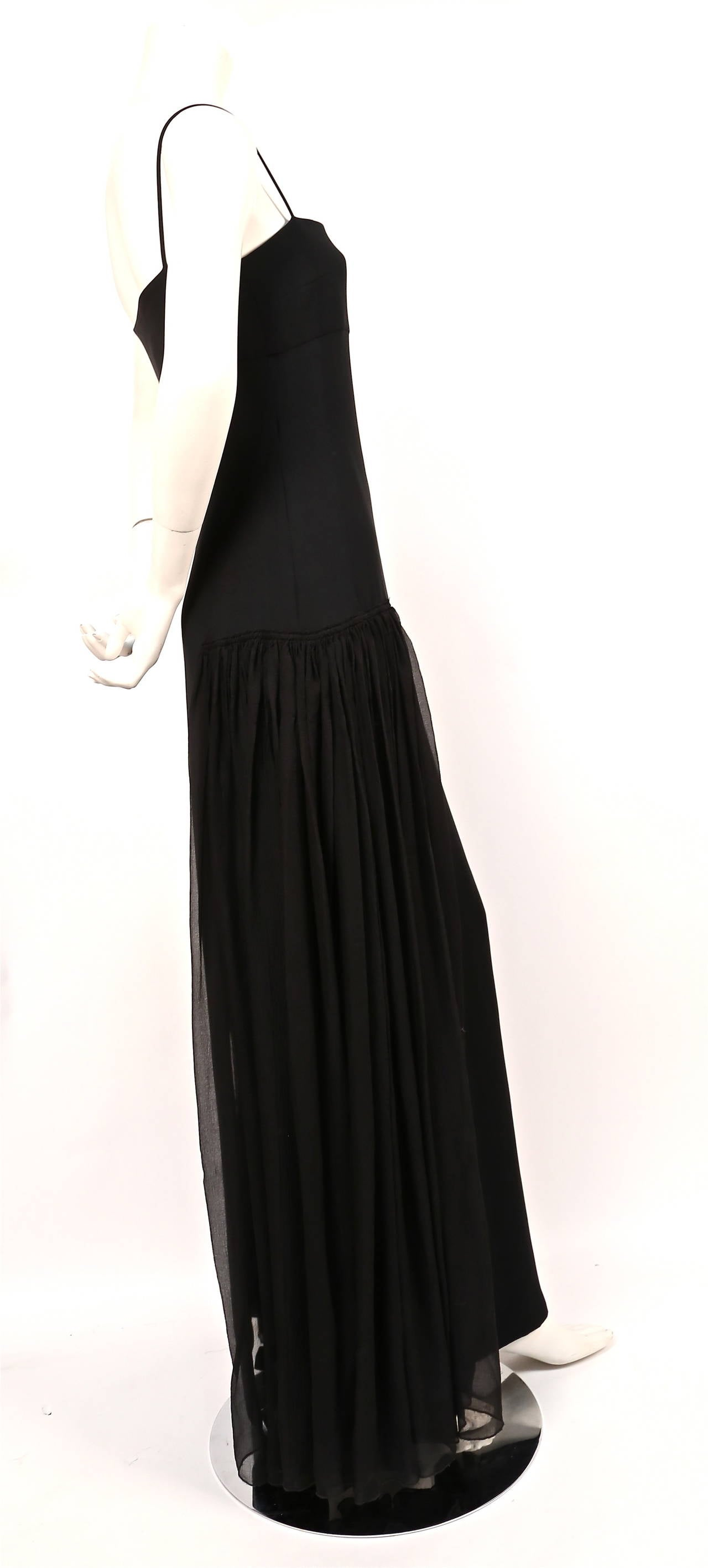 1998 BALENCIAGA 'le dix' by Nicolas Ghesquière black gown with sheer panels 2