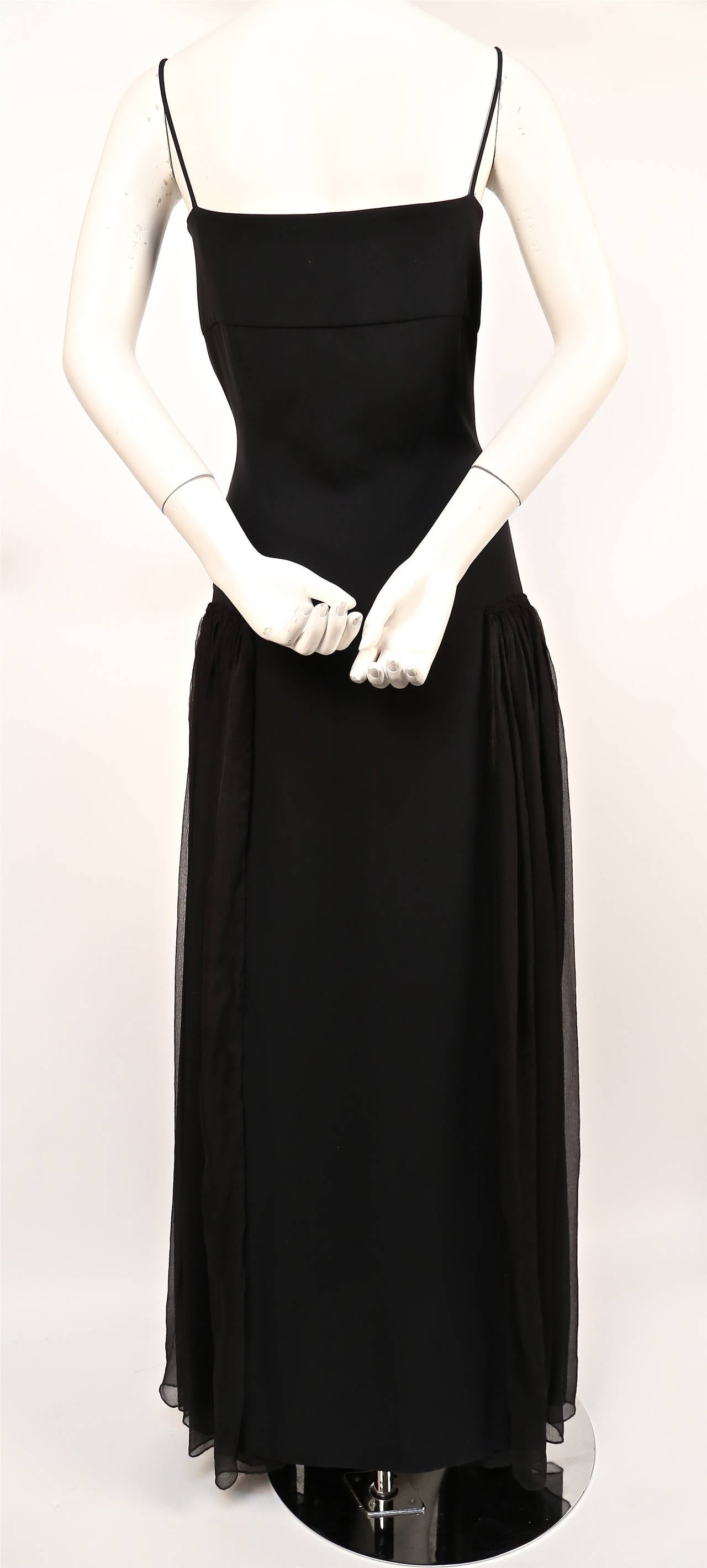 1998 BALENCIAGA 'le dix' by Nicolas Ghesquière black gown with sheer panels 3