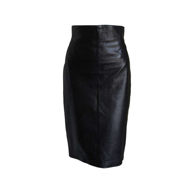 1990's AZZEDINE ALAIA black high waisted leather skirt with cut out back 1