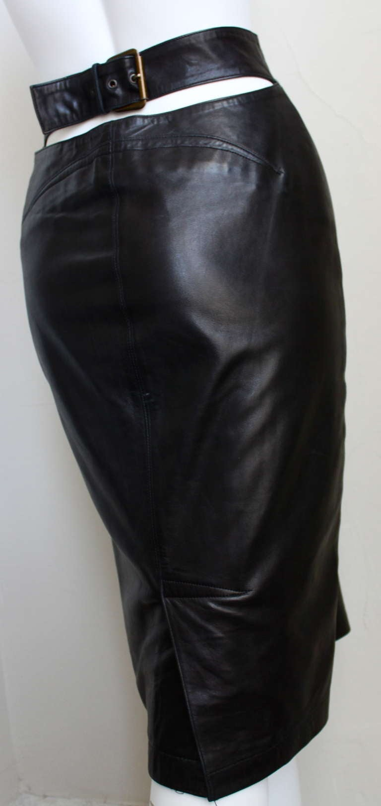 1990's AZZEDINE ALAIA black high waisted leather skirt with cut out back 2