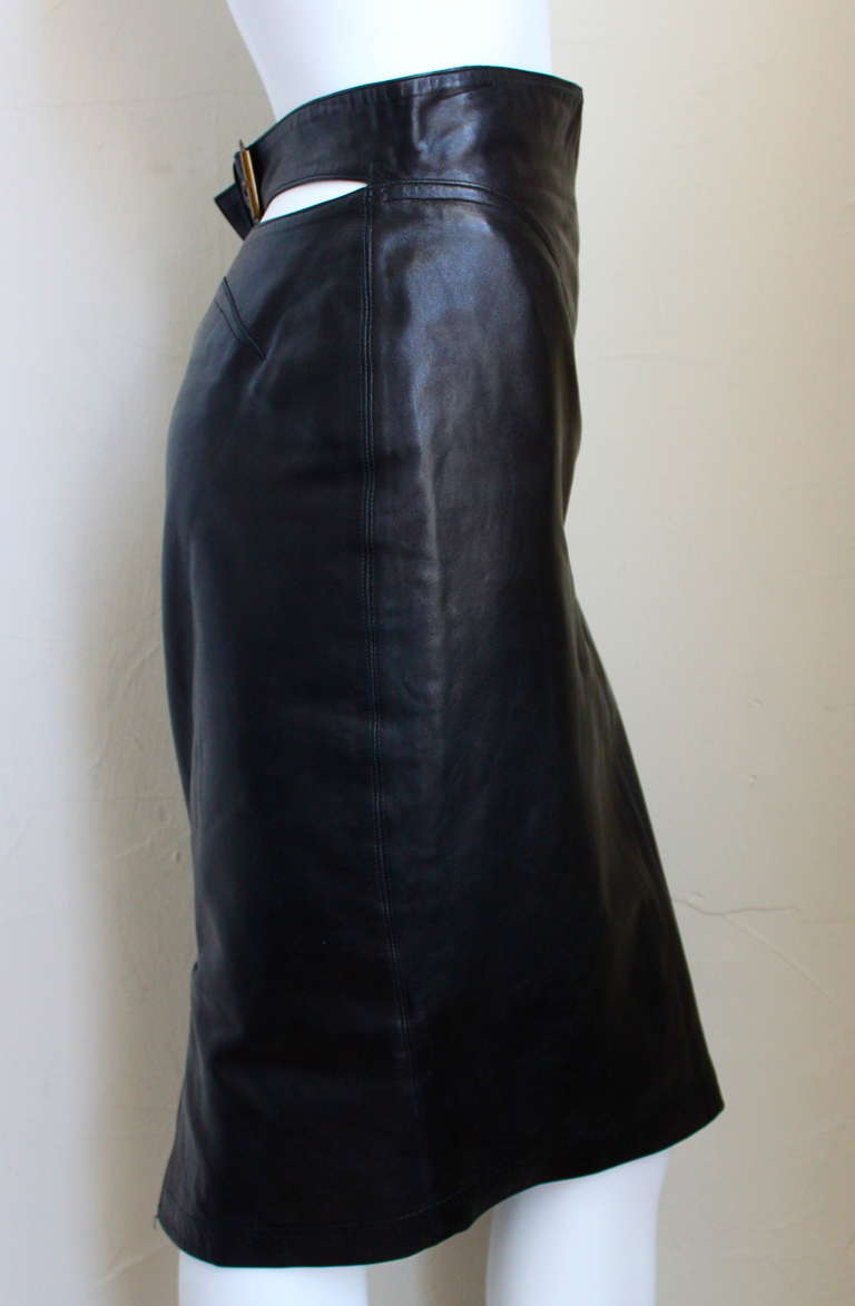 1990's AZZEDINE ALAIA black high waisted leather skirt with cut out back 3