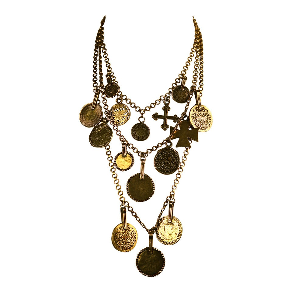 1977 YVES SAINT LAURENT gilt coins and crosses necklace 1
