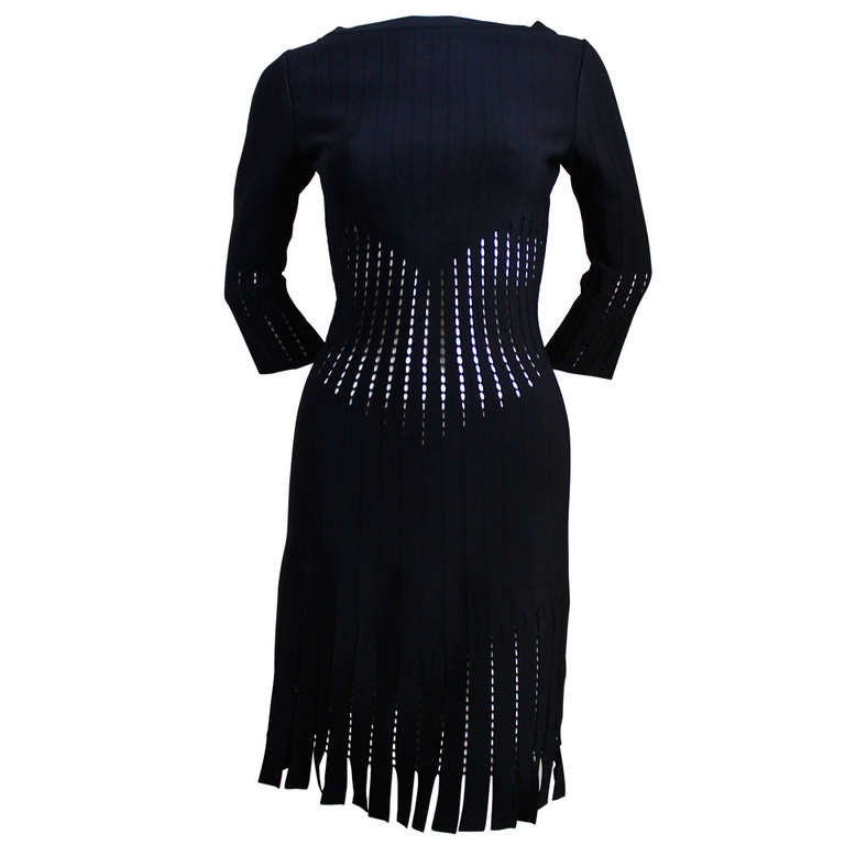 new AZZEDINE ALAIA back knit dress with cut-outs and fringed hemline